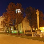 Kostol sv. Egídia s renesančnou zvonicou a barokovým stĺpom Immaculaty