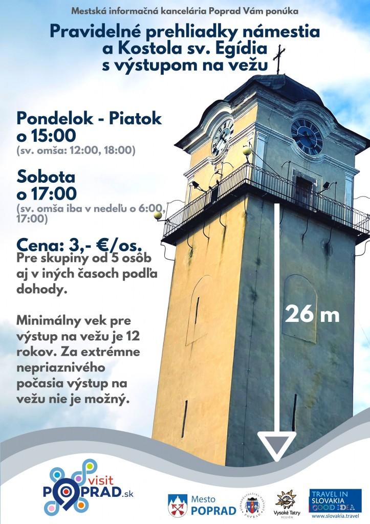 Pravidelné prehliadky námestia a kostola sv. Egídia Mestská informačná kancelária Poprad