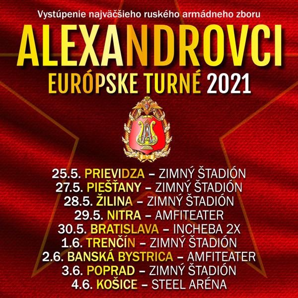 alexandrovci europske turne 2021 poprad